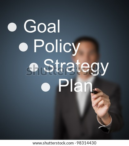 business man writing business concept goal - policy - strategy - plan - stock photo