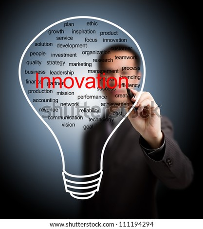 business man writing business innovation light bulb - stock photo