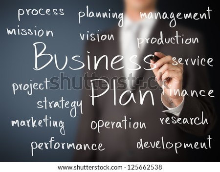 business man writing business plan concept