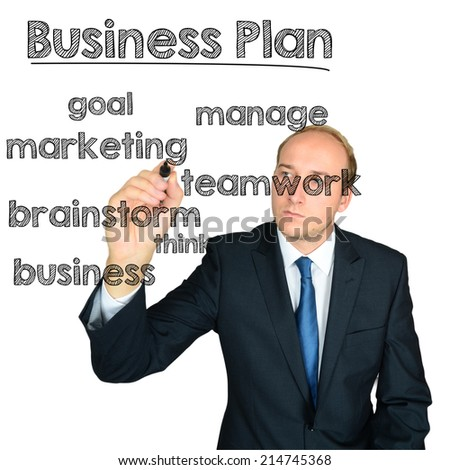 business man writing business plan concept wordcloud on white background - stock photo