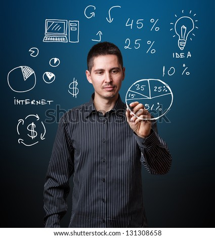 Business man writing business process strategy cycle - stock photo