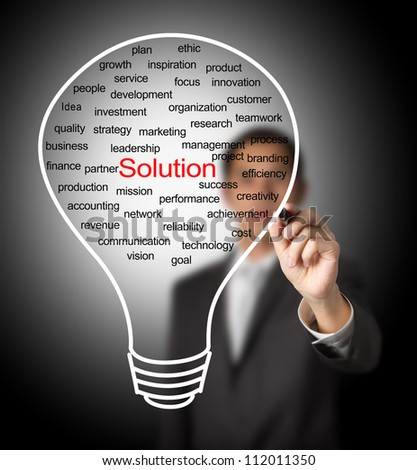 business man writing business solution light bulb - stock photo