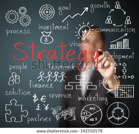 business man writing business strategy concept - stock photo