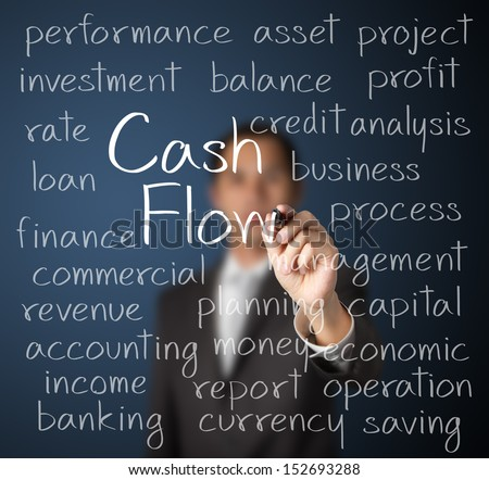business man writing cash flow concept - stock photo