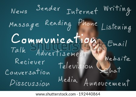 business man writing communication concept - stock photo