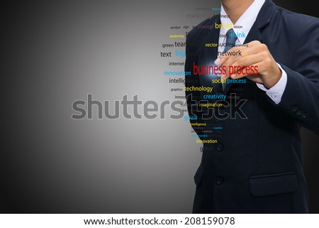 business man writing concept of business process