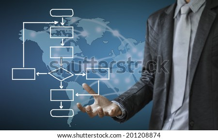 business man writing concept of business process improve - stock photo