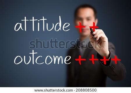 business man writing concept of good attitude make very good outcome - stock photo