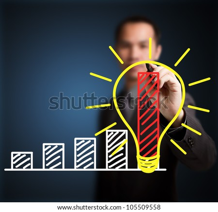 business man writing concept of good idea can make rapid growth and development - stock photo