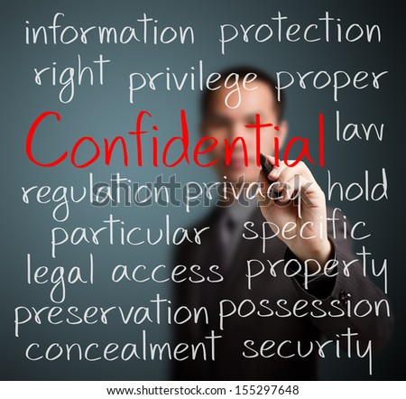 business man writing confidential concept - stock photo