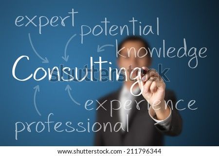business man writing consulting concept - stock photo