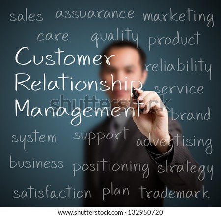 business man  writing customer relationship management (CRM) concept - stock photo