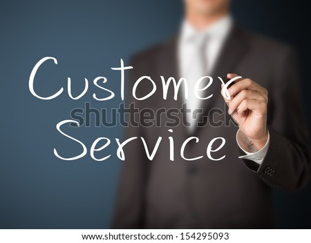 business man writing customer service