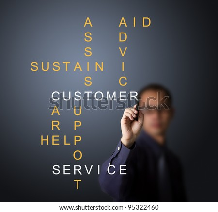 business man writing customer service concept - assist - aid - advice - care - help - sustain - support - stock photo