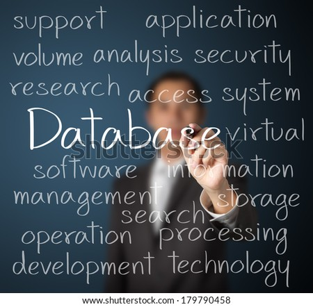 business man writing database concept - stock photo