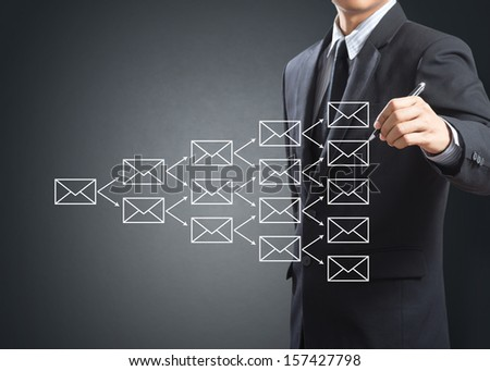 Business man writing e-mail sign on whitebord - stock photo
