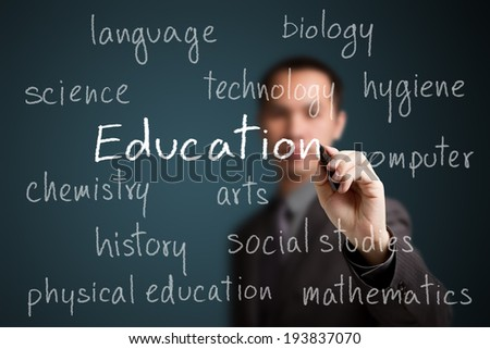 business man  writing education concept