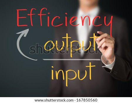 business man writing efficiency concept - stock photo
