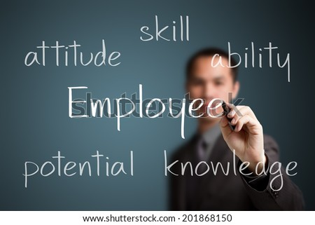 business man writing employee development concept - stock photo