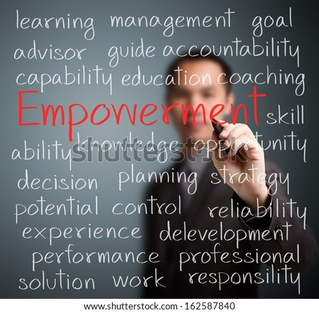 business man writing empowerment concept - stock photo