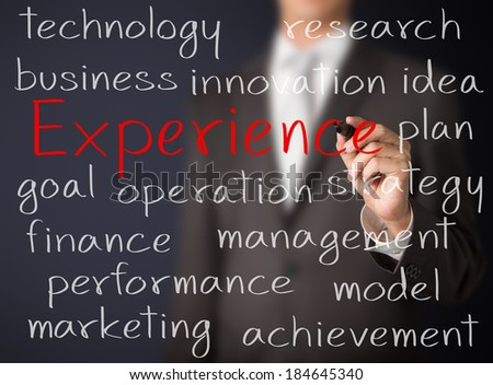 business man writing experience concept - stock photo