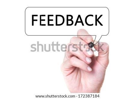 Business man writing feedback on glass, concept  - stock photo