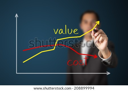 business man writing increasing value against reducing cost graph