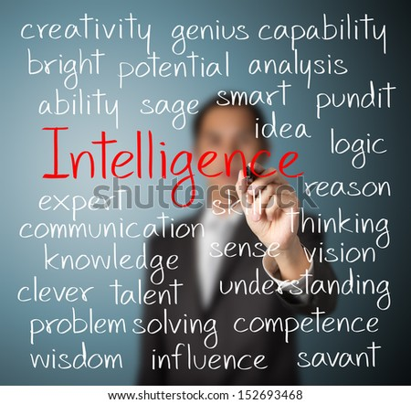 business man writing intelligence concept - stock photo