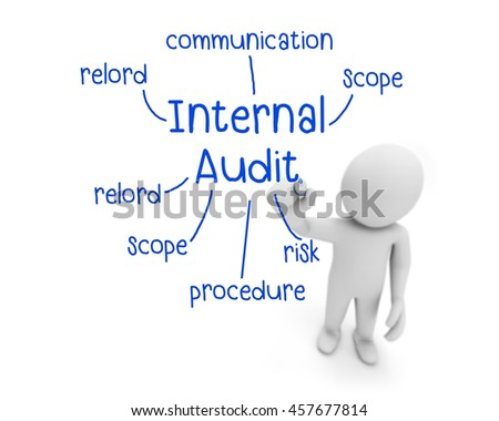 business man writing internal audit concept ,Man Explain the meaning of internal audit, 3d rendering - stock photo