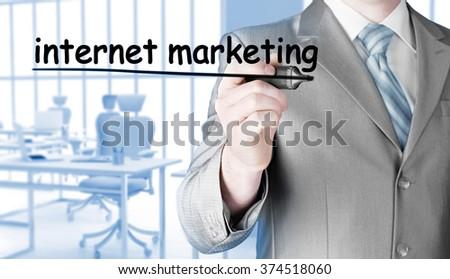 business man writing internet marketing - stock photo