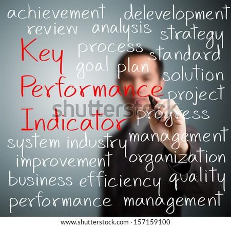 business man writing key performance indicator (kpi) concept - stock photo