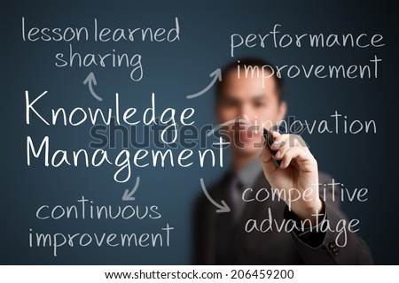 business man writing knowledge management advantages - stock photo