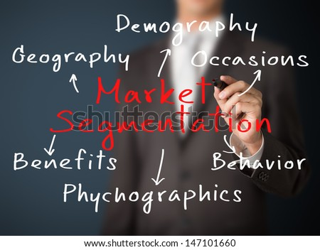 business man writing market segmentation method by various attribute - stock photo