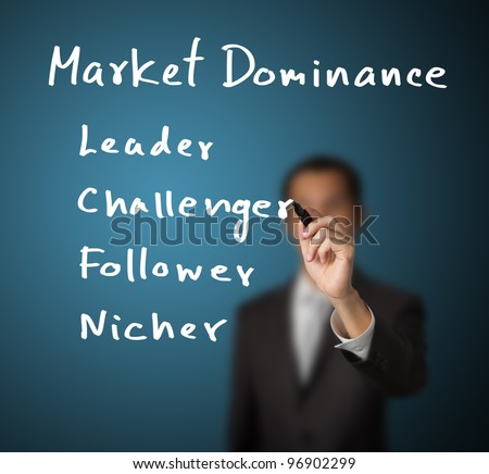 business man writing marketing concept - four type of market dominance ( leader - challenger - follower - nicher )
