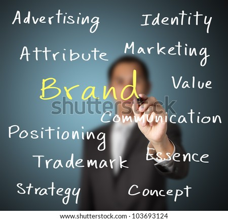 business man writing marketing concept of brand - stock photo