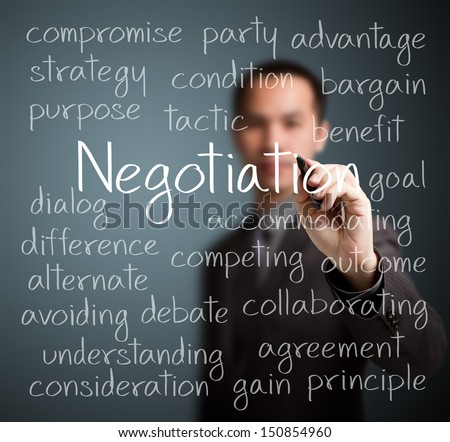 business man writing negotiation concept - stock photo