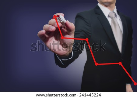 business man writing over...  - stock photo