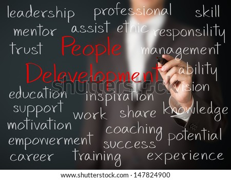 business man writing people development concept - stock photo