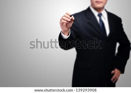 business man writing plan - stock photo