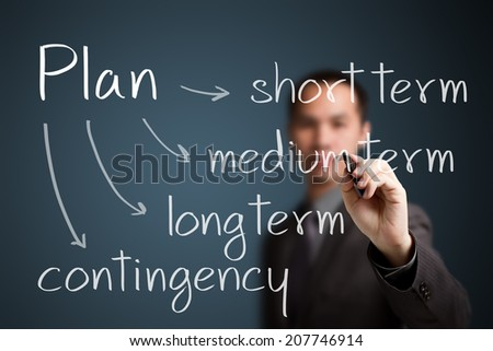 business man writing plan classification by time - stock photo