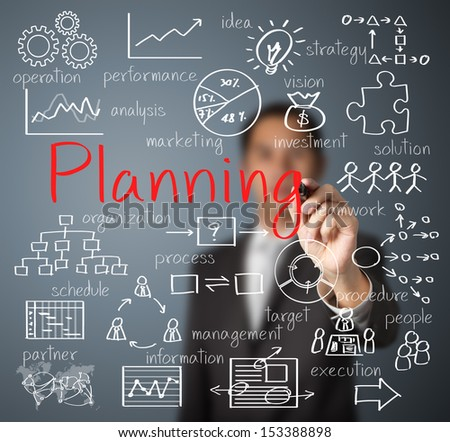 business man writing planning concept - stock photo