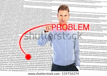 business man writing problem - stock photo