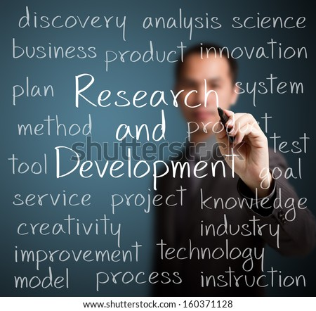 business man writing research and development concept