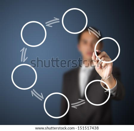 business man writing reversible cycle process diagram - stock photo