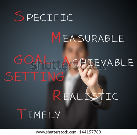 business man writing smart goal or objective setting concept - stock photo