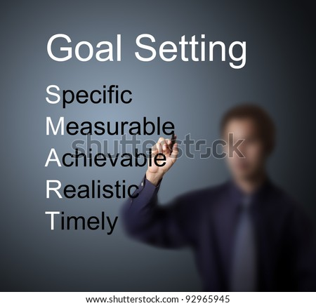 business man writing  smart goal or objective setting - specific - measurable - achievable realistic - timely