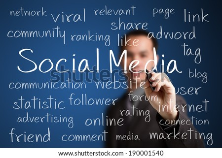 business man writing social media concept