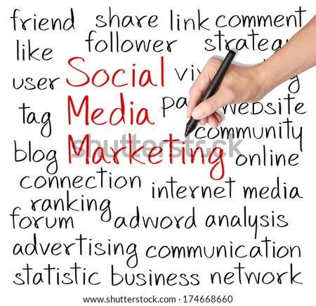 business man writing social media marketing concept - stock photo