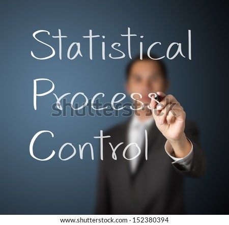 business man writing statistical process control (SPC)