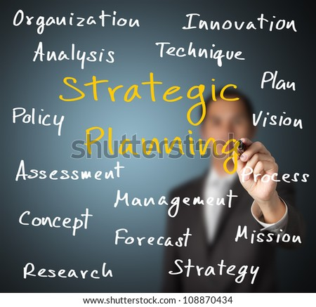 business man writing strategic planning concept - stock photo